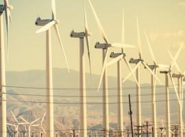 Conversion of Wind Energy. Wind Turbines at Coachella Valley Wind Farm.