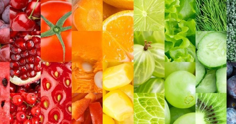 Color fruits, berries and vegetables