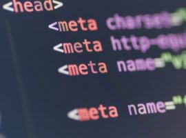 HTML meta tag code on computer screen