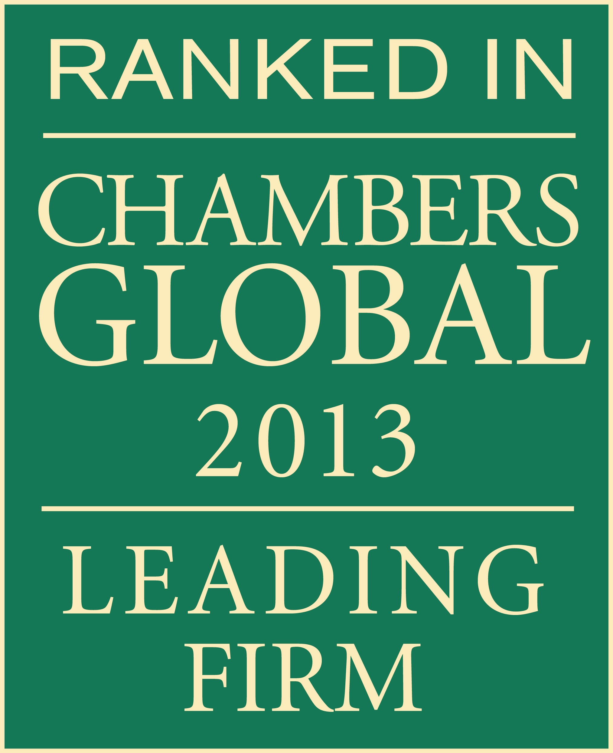 Ranked in Global Firm 2013